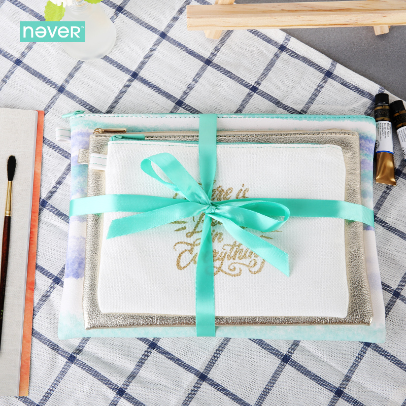 Never Watercolor Collection Stationery Sets For Girls Cosmetic Bag Kit Pu Leahter 3 Bags Gift Sets Business Office Accessories<br>