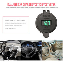 Car 3.1A Dual USB LED  Waterproof Heat-resistant 12V DC Motorcycle Charger Socket Voltage Voltmeter Outlet Panel