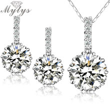 Mytys High Quality Sparkling Crystal Necklace Earrings White GP Wedding jewelry set GIFT N1313(China)