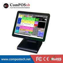 Cheap 15 Inch All In One Touch Screen Pos Pc Cash Register Terminal 6 PCS Point Of Sale Quad Core Fanless Pos Machine(China)