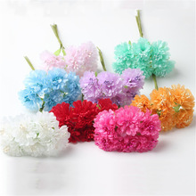 6pcs/lot 4.5cm Handmade Silk Flowers Cherry Blossom Artificial Chrysanthemum Flower Bouquet For Home Wedding Party Decoration(China)