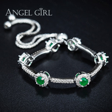 Angelgirl white gold colour Women Jewelry Micro insert technology  Bracelet Jewelry Austrian Crystals green Wholesale for girl