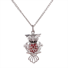 Retro Owl Sliver plated Hollow Necklace Sponge Aromatherapy Diffuser Necklace Women's fashion Animal Pendant Neckalce(China)