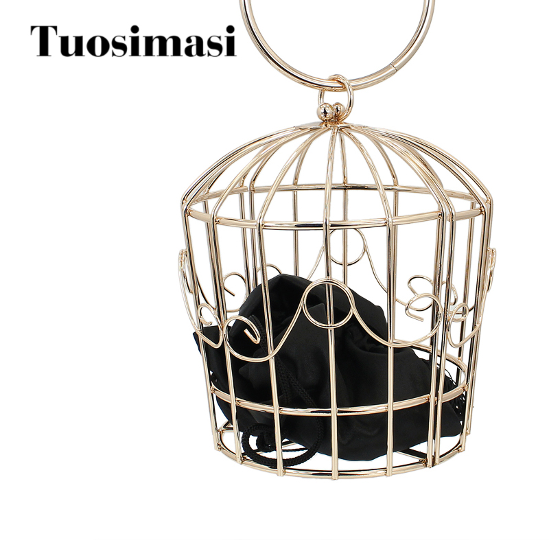 fancy shape metal birdcage shape ladies purse clutch bag purse with satin bag(C357)<br>