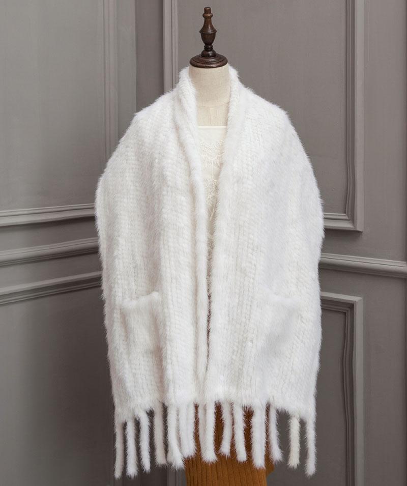 mink shawl 40 white