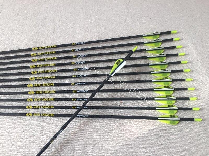 12pcs carbon arrow shaft  spine600 ID4.2mm OD5.6mm pin arrow nock Stainless steel field arrowhead  for Recurve bow archery<br>