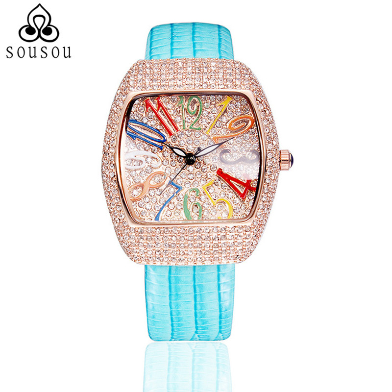 2016 Diamond Dec. Big Dial Square Geunine Leather Watch Women Watches Fashion Designer Ladies Bracelet Watch Reloj Mujer<br>