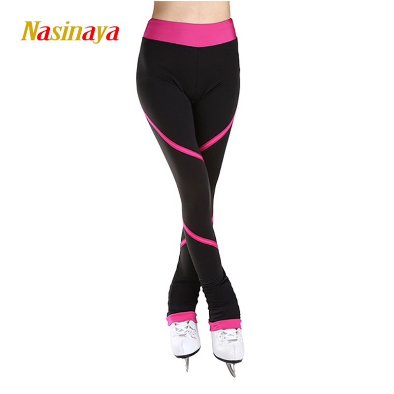 Customized Custome Ice Skating long pants Figure Skating Pants Trousers Fabric Adult Child Girl Clothing Performance Pink Stripe<br>