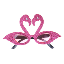 1Pc Novelty Eye Glasses Hawaiian Eyeglasses Flamingo Birthday Favors Festive Party Supplies Decoration Accessories Pink Purple(China)