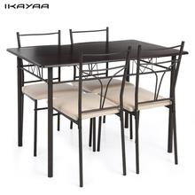 iKayaa 5PCS Dining Set Modern Metal Frame Dining Kitchen Table Chairs Set for 4 Person Kitchen Furniture US UK FR DE Stock