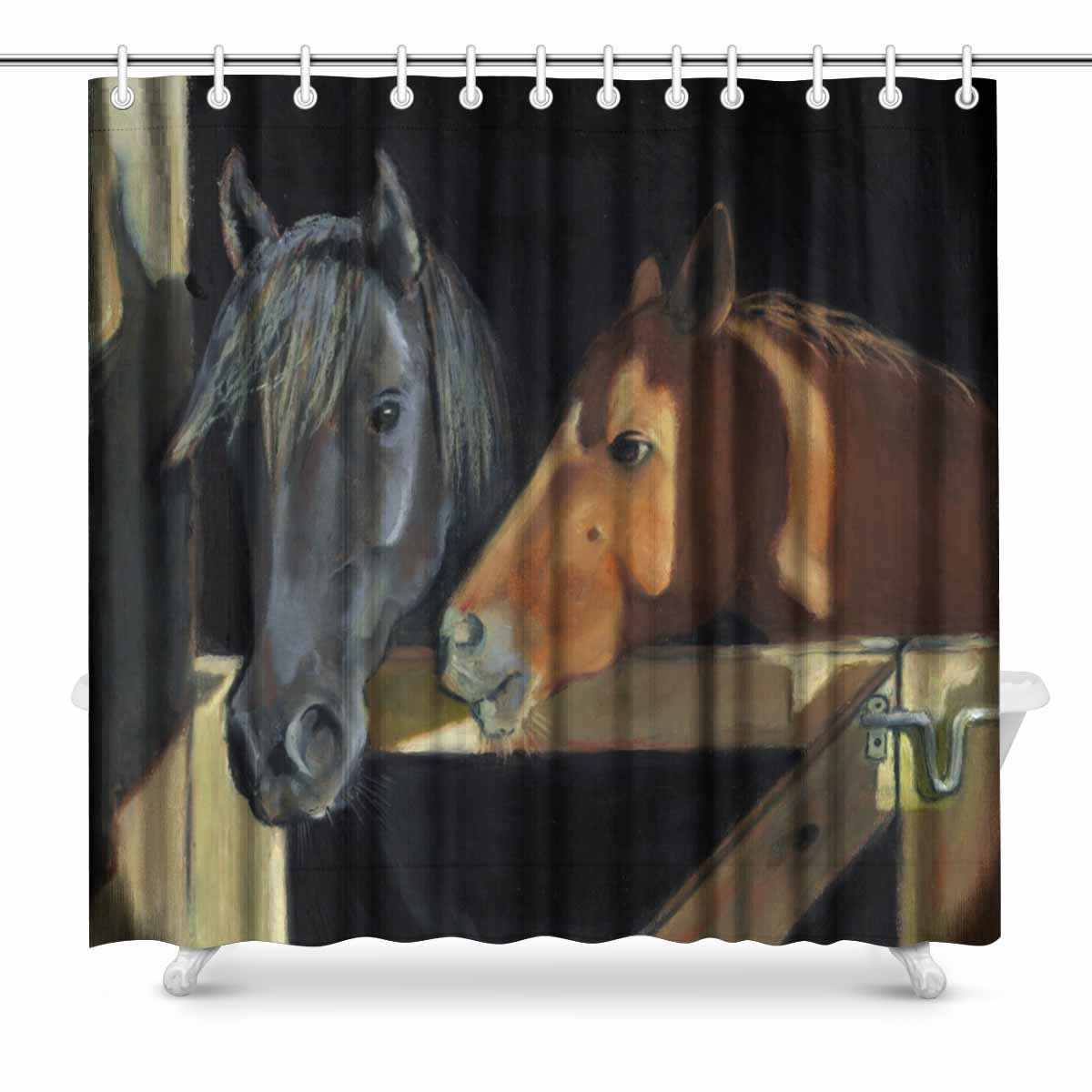 Aplysia Two Horses At The Open Barn Door Fabric Bathroom