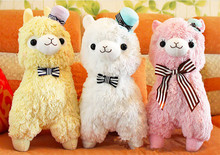 "Free Shipping 14"" Arpakasso Alpacasso Kawaii Alpaca Plush Toys Doll With Hat Soft Sheep Stuffed Toys 4 Colors"