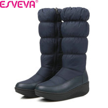 ESVEVA 2018 Women Boots Winter Down Surface Short Plush Snow Boots Thick Velvet Med Heel Mid-Calf Boots Ladies Boots Size 35-43(China)