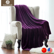Naturelife Purple Flannel Blanket Coral Plaid For sofa air Travel Manta Soft Blanket Beds Throws Fleece Blanket Manta Coberto(China)