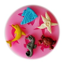 New Sea Animal Silicone Mould Cake Decorating Fondant Mold Pink Color