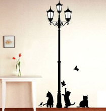 Free Shipping Popular Ancient Lamp Cats and Birds Wall Sticker Wall Mural Home Decor Room Kids Decals Wallpaper(China)