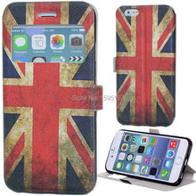 2015 New models Ages feel vintage dust UK FLAG stand pouch maginetic flip leather Case cover skin for iPhone 6 of 4.7""