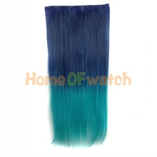 60cm Gradient Style Ladies Long Straight Hair Extension Multi-colored (NWG0HE60731-QHH)