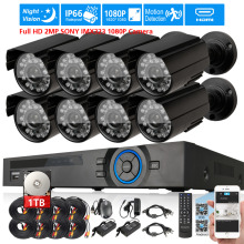 AHD 2MP SONY 323 1080P Camera Security Surveillance CCTV System 8CH Full HD 1080P DVR recorder system USB 3G WIFI 1TB 2TB Kit