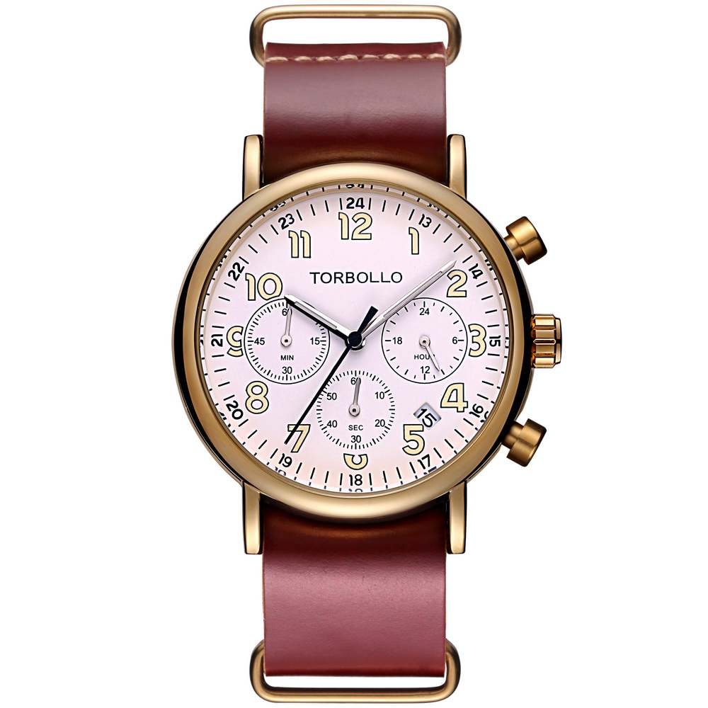 High Quality Genuine Leather Quartz Chronograph Watch Multifunction Men Wrist Watch Water Resistant<br>