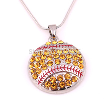 New product 10pcs zinc alloy studded with sparkling crystals Softball Pendant sports chain necklaces(China)