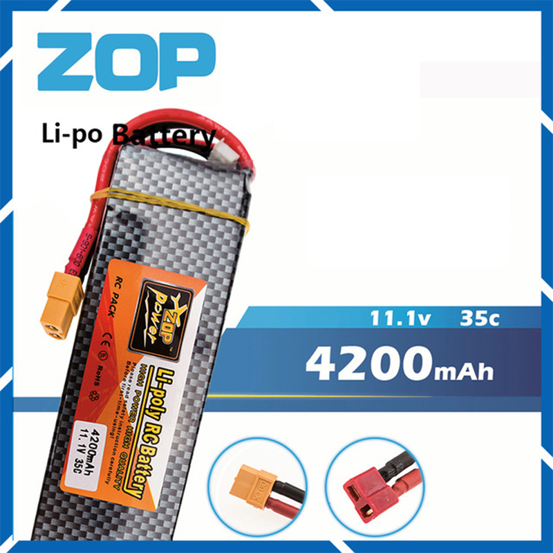 Lipo 3s 11.1v 4200mAh battery 35C ZOP XT60 or T plug lithium batteries For Trex 500 RC Helicopter Airplane drone part wholesale<br>