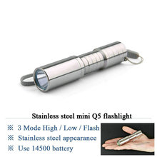 New Stainless steel bright light LED flashlight outdoor mini flashlights hand torch led lamp(China)