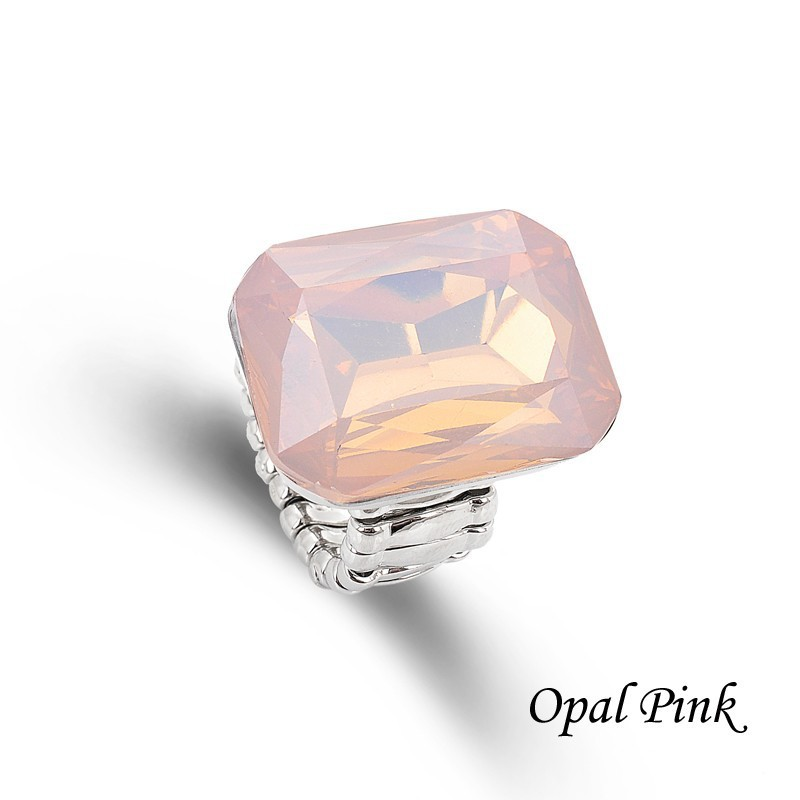 Ring for Women 7 opal Colors Big resin Fashion Elastic Stretch Finger Rings Jewelry Christmas Gift (7)