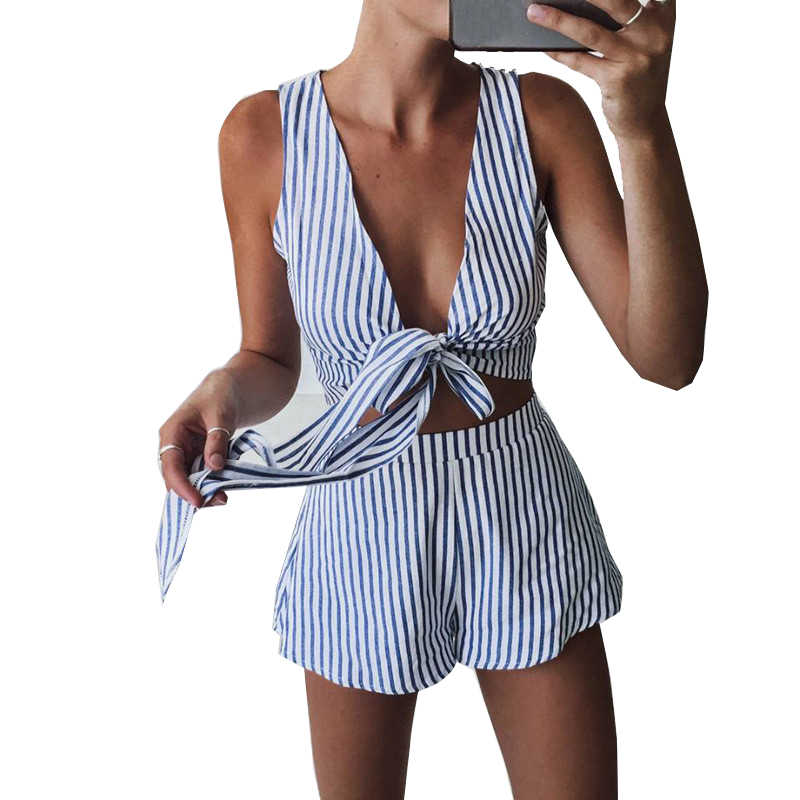 Conjunto de dos piezas de rayas azul mujer playa Casual pantalones cortos  prendas mono Sexy sin ff10f43bd265