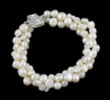 YYW Freshwater Cultured Pearl Bracelet,Jewelry For Men, Freshwater Pearl, brass box clasp, natural