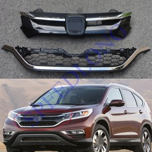 Chrome Front Grill Upper Middle Grille Grill Kits for Honde CRV CR-V 2015 2016(China)