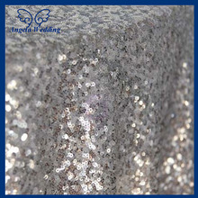 SQN001X New cheap Hot sale fancy 100% polyester embroidery metallic sequence wedding silver sequin table cloth
