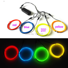 2.3mm 1Meter x 4pieces multicolor flexible EL wire LED Strip Neon glowing light tube for DIY Dance festival party decoration