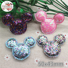 5cm Mickey Non-woven patches glitter Felt Appliques for clothes Sewing Supplies diy craft ornament