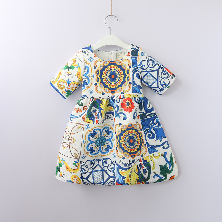 Children's Dress Autumn New Ethnic Blue and White Porcelain Short Sleeve Dress Kids Jacquard Weave Dresses