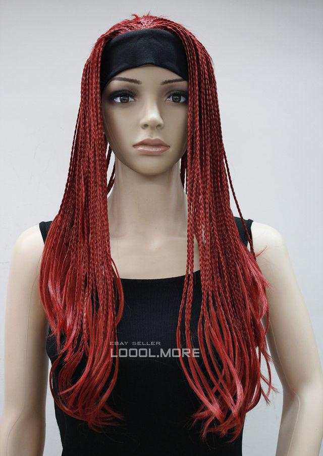 Hot Red Long unique braids 3/4 half wig headband Hivision HTLG024<br><br>Aliexpress