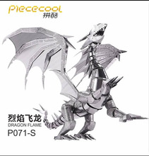2016 New Arrival Laser Cutting Piececool Dragon Flame 3D Metal Model Puzzle Toys Kids DIY Assembled Jigsaw Gift Free Shipping