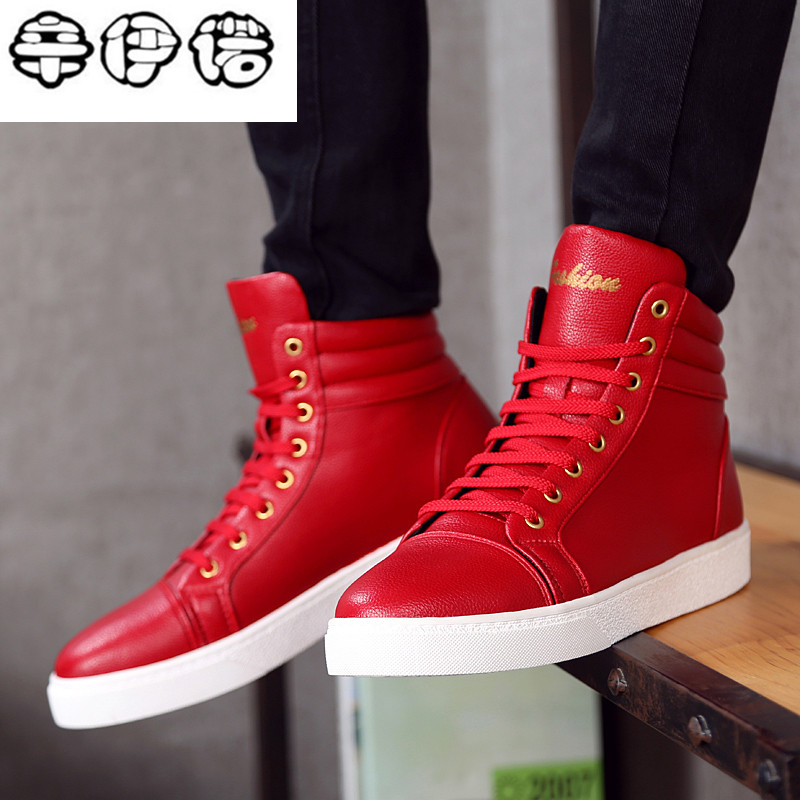 New Fashion High Top Casual Shoes For Men PU Leather Lace Up Red White Black Color Mens Casual Shoes Men High Top Shoes Red<br>