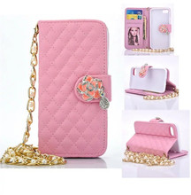 New Luxury Shoulder Bags For iPhone7/8 7/8 Plus 5.5 Lattice Pattern Elegant Women Wallet Leather Metal Chain Jewelry Phone Case(China)