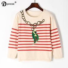 JOYDU Luxury Beading Runway Sweater Women Parrot Sequins Embroidery Knitting Pullovers 2017 Fall Winter Stiped Sweaters Jumper