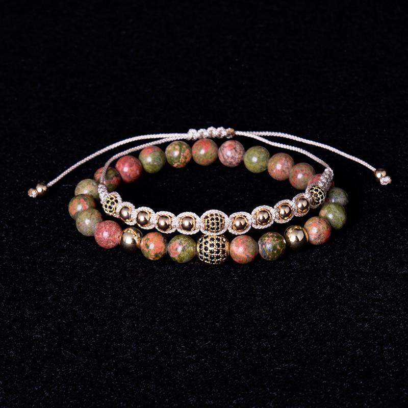 ATTYIRENA 2pcs/Set Red Natural Stone Beads Male Bracelet Micro CZ Bead Woven Female Bracelet Braiding Macrame Cord Men Bracelet