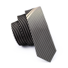 2017 Fashion Slim Tie Black And Pale gold stripe Skinny Narrow Gravata Silk Ties For Men Wedding Party Groom HH-211(China)