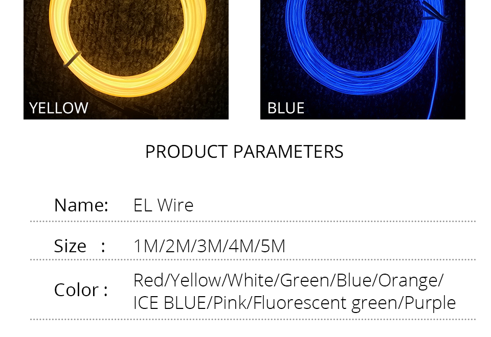 1M2M3M5M Waterproof LED Strip Light Neon Light Glow EL Wire Rope Tube Cable+Battery Controller For Car Decoration Party (11)