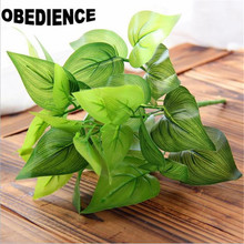 OBEDIENCE 10Pcs Brick Artificial Plants heart leaves Plastic Simulation Plants Home Decoration Flower 7 Fork Spring Grass