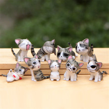 Hot Sale Japanese Anime 3cm PVC Cheese Cat Action Figures Toys Cute Lovely Cartoon Model Toys For Kids Gift (9pcs/set)