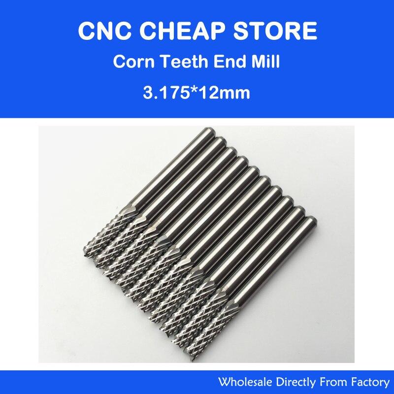 10pcs 3.175*12mm Corn Teeth End Mill, Milling Cutter CNC Router Bits Tools PCB, Printed Circuit Board Cutter on HDF,Fiber Glass<br><br>Aliexpress