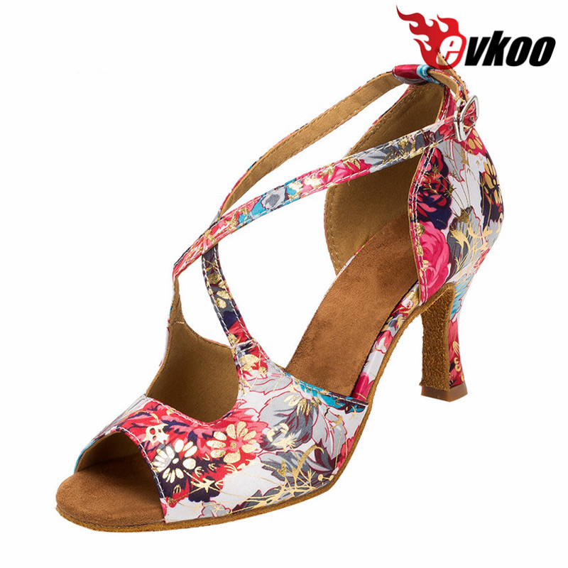 Evkoodance Latin Shoes professional salsa shoes 6/7/8cm Heel Satin  Ballroom Latin Dance Shoes for ladies Evkoo-366<br>