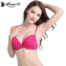 Annajolly Women Bras Push Up Sexy Top Lace Adjustable Bra White Rose Embroidery Underwear Lingerie Fashion Free Shipping U8593(China)