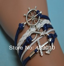 2016 Summer Antique Silver Anchor Rudder Infinity Charm Bracelet New Fashion White Navy Leather Rope Women Men Wristband Jewelry(China)