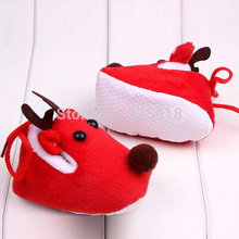Cute Warm Winter Baby Christmas Deer Shoes Sweet Antiskid Toddlers Shoes Baby Girls Infant Prewalker Toddler sh(China)
